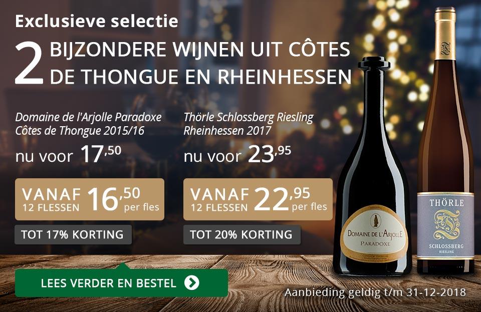 Twee bijzondere wijnen uit Côtes de Thongue en Rheinhessen december 2018 - grijs/goud