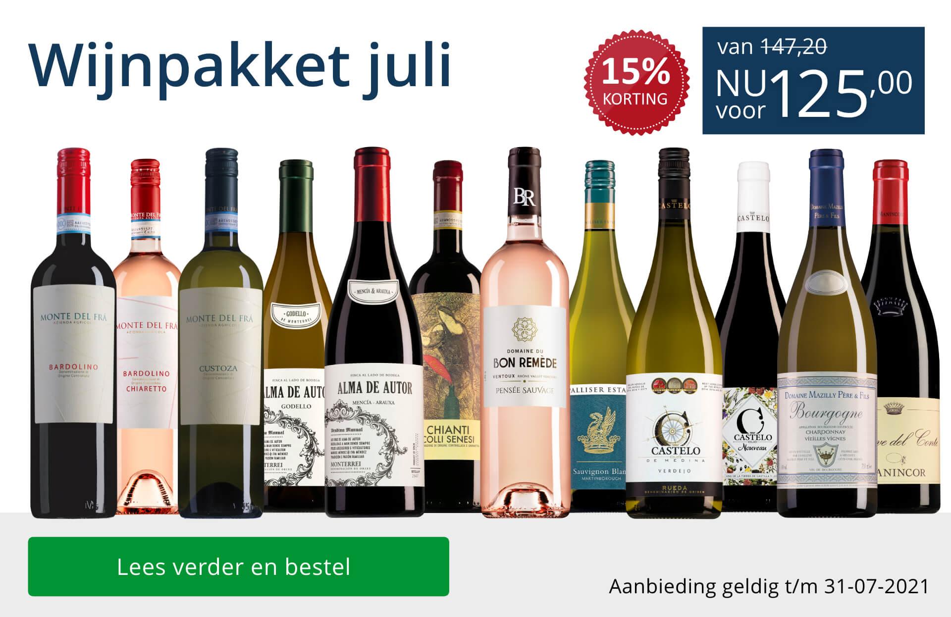 Wijnpakket wijnbericht juli 2021(125,00) - blauw